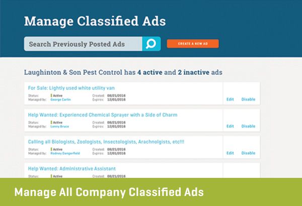 Managed All Company Classified Ads